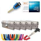 M&C Matrix SKG®*** 5 cilinders met 7 sleutels kerntrekbeveiliging | safedeliveries.nl