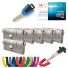 M&C Matrix SKG®*** 6 cilinders met 8 sleutels kerntrekbeveiliging | safedeliveries.nl